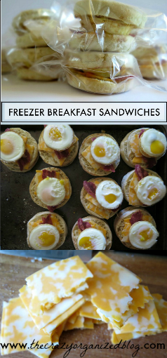 Easy 'make ahead of time' freezer breakfast sandwiches stored in the freezer. Just pop in the microwave in the morning for a delicious hearty breakfast!
