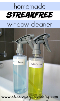 Quick and easy homemade streak free window cleaner, just two ingredients! No more expensive name brands when you can make it yourself!
