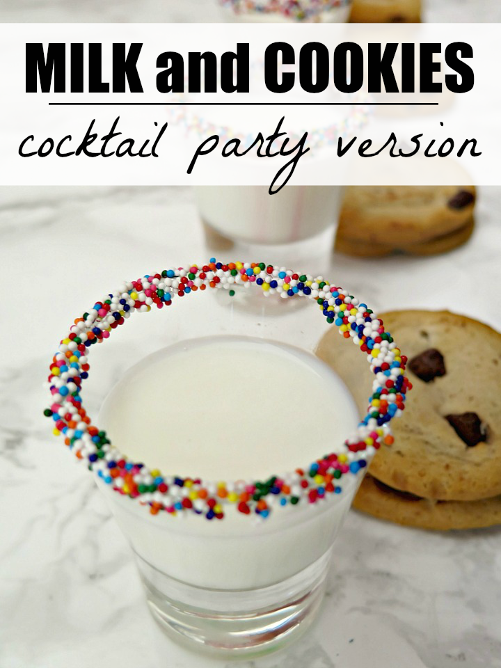 Surprise your guests with their childhood favorite, milk and cookies, at your next party! Easy, fun & unique cocktail party desert your guests will LOVE!