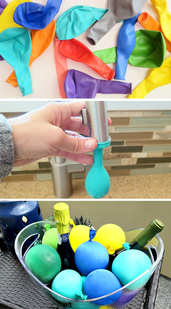 Fun twist to keep your drinks cool with these frozen water balloons! Easy way to add color to ANY occasion. Perfect for summer barbecues!