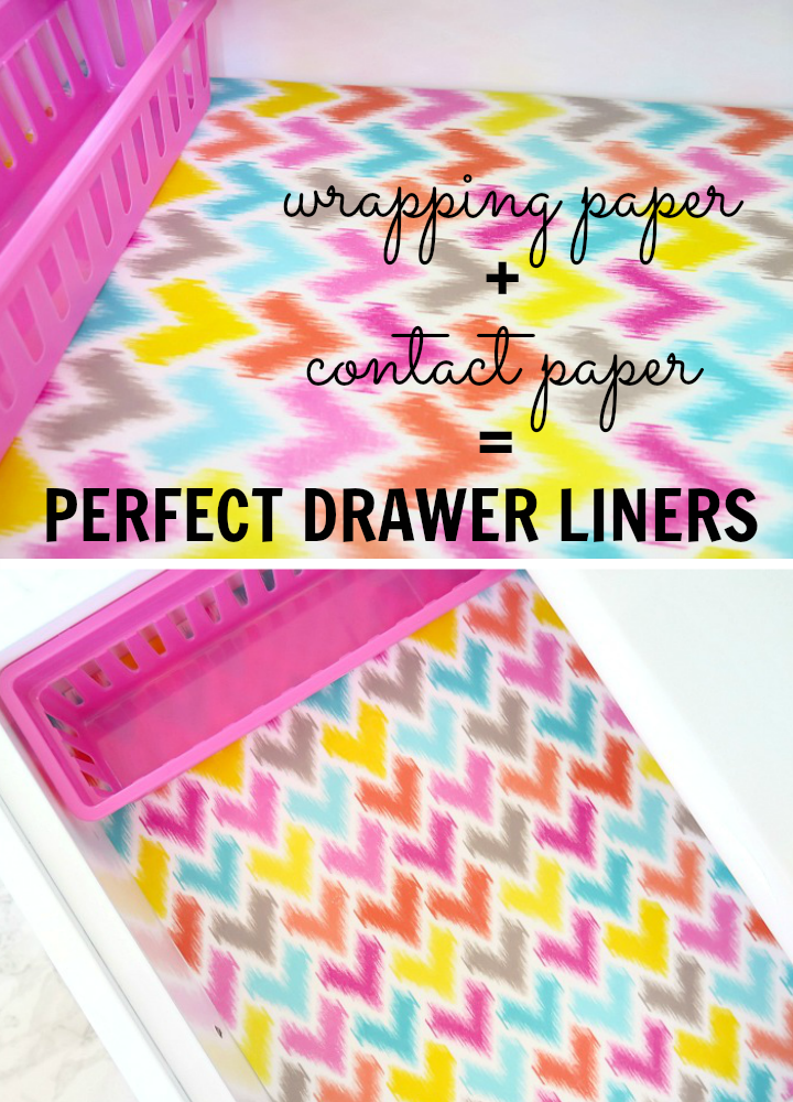 Pinning for later. surprisingly easy way to make drawer liners with wrapping paper and contact paper.