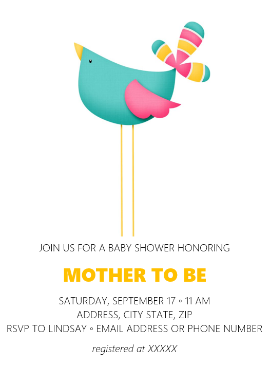 Free Baby Shower Invitation template, Bless this Nest themed