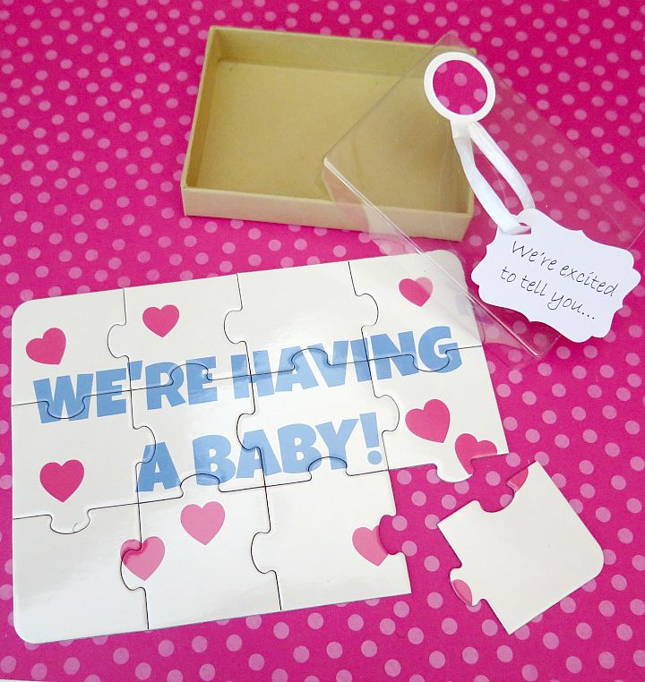 Step by step instructions for a creative pregnancy announcement puzzle. Easy and affordable, it's the perfect surprise for family or friends!