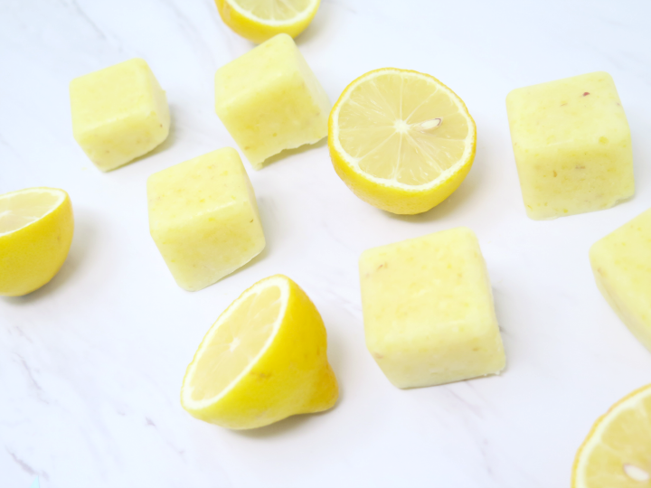 freezing lemons is a perfect way to make lemon ice cubes for daily drinking!